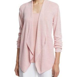 Eileen Fisher Organic Linen Angled Pink Cardigan L